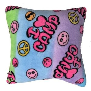 I Love Camp Fuzzy Square Pillow