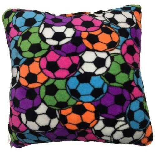 Neon Soccer Fuzzy Square Pillow