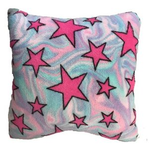 Swirly Stars Fuzzy Square Pillow