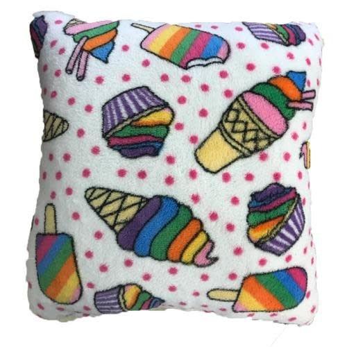 Ice Cream Fuzzy Square Pillow
