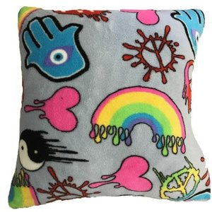 Dripping Graffiti Fuzzy Square Pillow