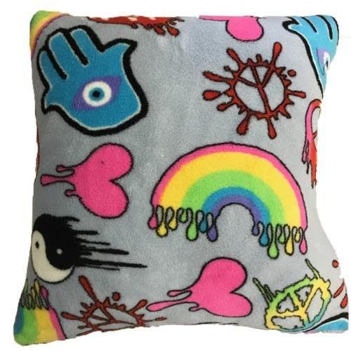 Dripping Graffiti Fuzzy Square Pillow