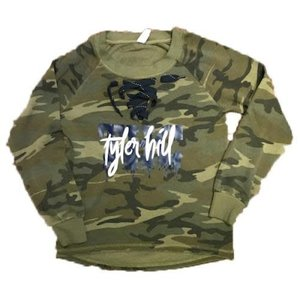 Dripping Letters Camo Long Sleeve Shirt