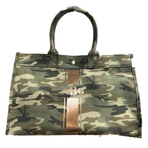 Monogrammed Green Camo Tote