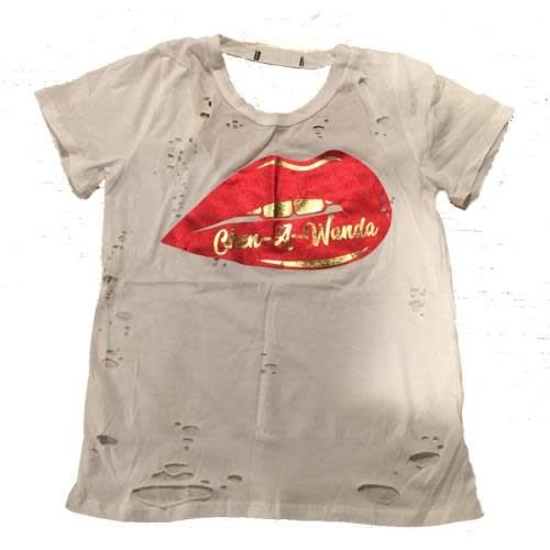 Foil Lips on Distressed Shirt