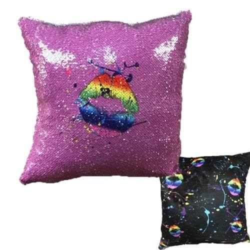 Splatter Lips Sequin Pillow