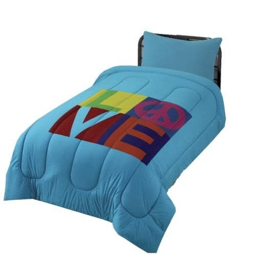 Turquoise LOVE Jersey Comforter