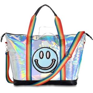 Metallic Tote Bag with Smiley Face