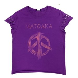 Lantern Sleeve T-Shirt with Painted Peace Sign