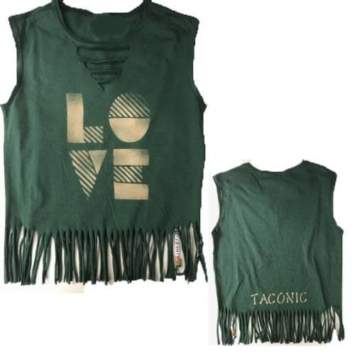 Deep V-Neck with Fringes and Beads Tank (Love Stripes Design)