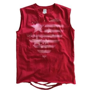 Notched Muscle Tank with Back Ribbons and Flag
