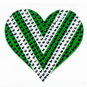Green/White Heart StickerBean