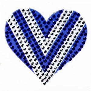 Blue/White Heart StickerBean