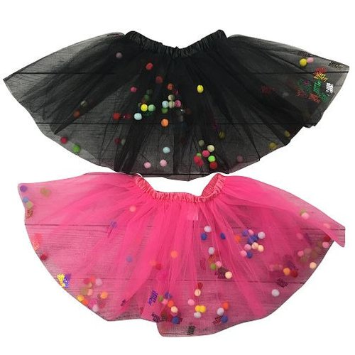 Birthday Tutu with Pom Poms