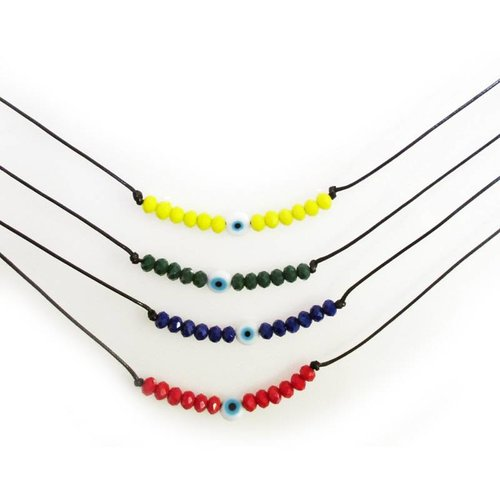 Evil Eye Camp Colors Beaded Choker