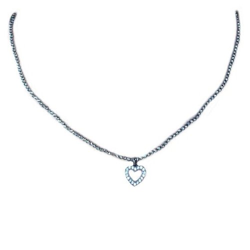 Pave Open Heart Beaded Choker