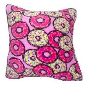 Pink Donuts Fuzzy Square Pillow