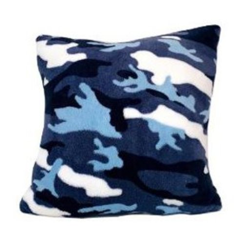 Blue Camo Fuzzy Square Pillow