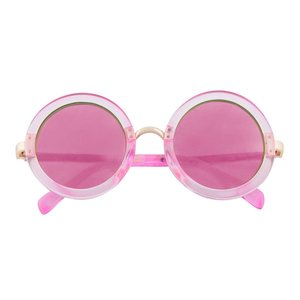 Pink Translucent Round Sunglasses