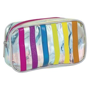 Iridescent Striped Small Cosmetic Bag