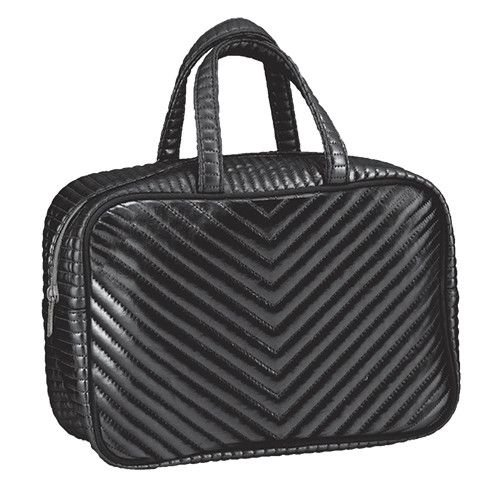 Black Chevron Large Cosmetic Bag
