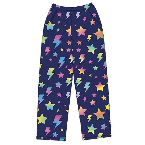Lightning Bolts and Stars Fuzzy Pants