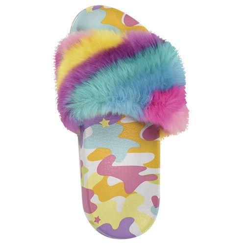Rainbow Camo Fuzzy Slides