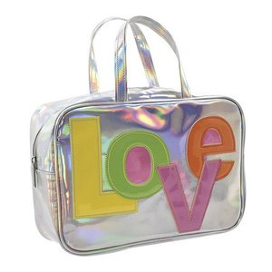 Love Patch Holographic Large Cosmetic Bag