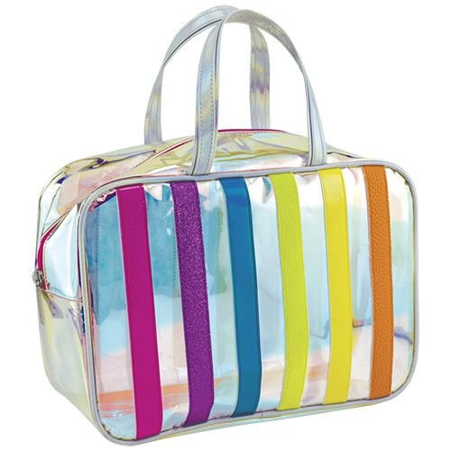 Iridescent Striped Large Cosmetic Bag