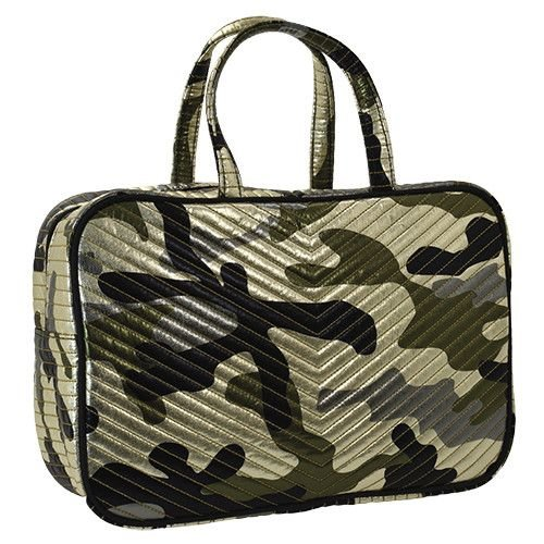 Metallic Camo Chevron Large Cosmetic Bag