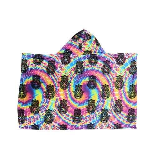 Rainbow Tie Dye Hamsa Hoodie Blanket