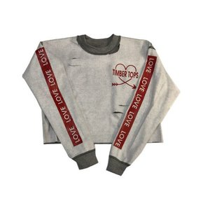 Cropped Torn Inside Out Heart Arrow Sweatshirt