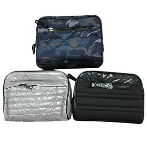 Blue Combo Quilted Cosmetic Bag