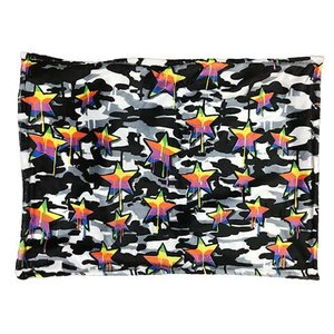 Black and White Camo Rainbow Star Fuzzy Pillowcase