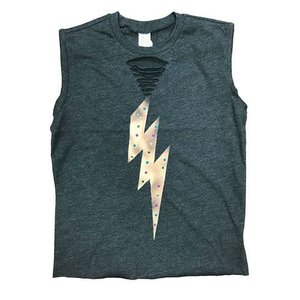 Studded Lightning Bolt Muscle Shirt