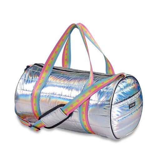 Metallic Puffer Duffel Bag