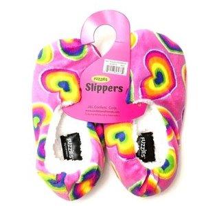 Rainbow Hearts Fuzzy Slippers