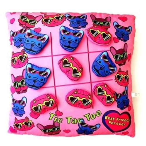 Dogs and Cats Tic Tac Toe Pillow