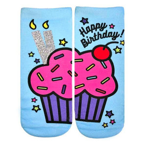 Birthday Cupcake Glitter Ankle Socks