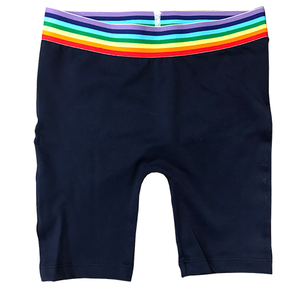 Cobalt Bike Shorts with Rainbow Stripe Top