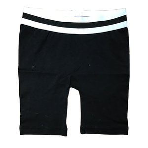 Black Bike Shorts with Striped Top