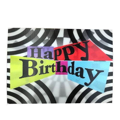 Black/White Happy Birthday 3-D Postcard