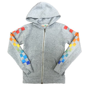 Gray Burnout Zip-Up with Rainbow Checkers