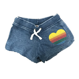 Blue Soft Shorts with Rainbow Heart
