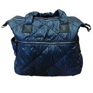 Navy Quilted Puffer Weekender Bag