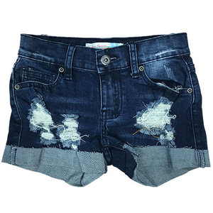 Ripped Cuff Dark Jean Shorts
