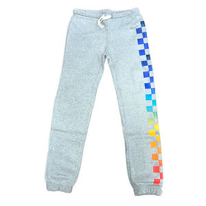Gray Burbout Sweats with Rainbow Checkers