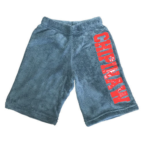 Boys Long Fuzzy Shorts with Large Camp Name