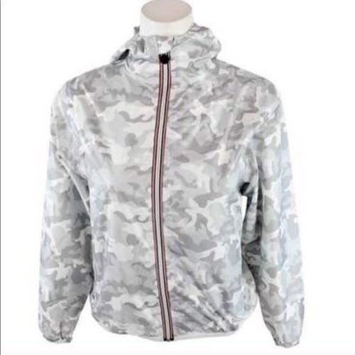 Light Gray Camo Packable Rain Jacket