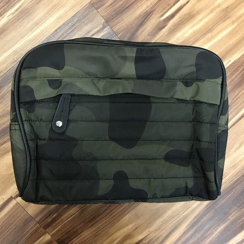 Green Camo Quilted Cosmetic Bag
